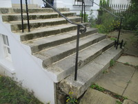 Portland Stone Solid Block Steps Before Rebuild