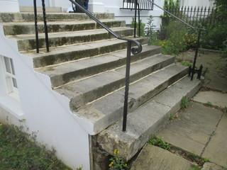 Portland Stone Solid Block Steps Before Rebuild
