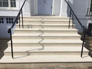 Portland Stone Solid Block Steps After Rebuild