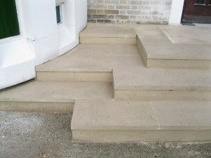 Portland Limestone Steps and Top Landing, St Scholastica's RC Church