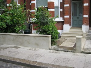 Wall Copings, Railing Plinth and Stepping Stone Front Path